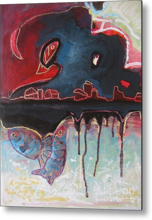 Abstract Paintings Metal Print featuring the painting Nipper by Seon-Jeong Kim