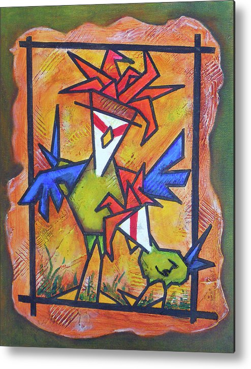 In Trouble Metal Print featuring the painting Not Gonna Tell You Again by Bobby Jones