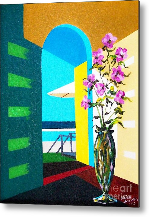 Still Life Metal Print featuring the painting Ocean View by Sinisa Saratlic