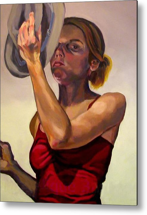 Portraits Metal Print featuring the painting Oh How The Tables Have Turned by Angelique Bowman