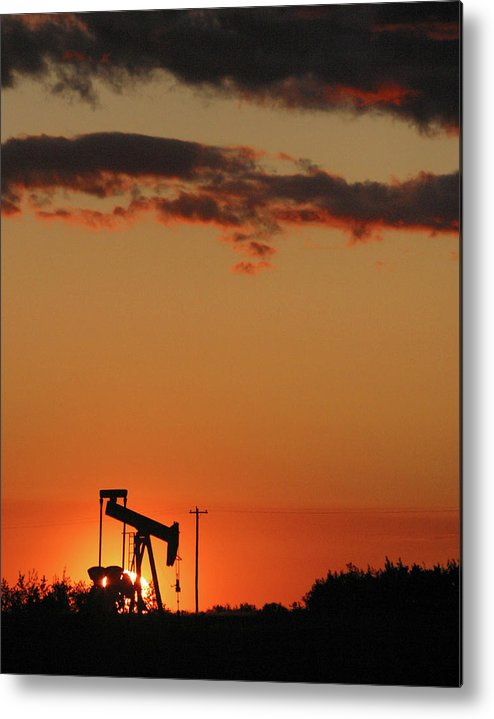 Oil Metal Print featuring the photograph Oil Pump Jack 3 by Jack Dagley