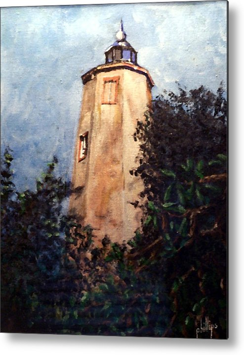 Lighthouse Metal Print featuring the painting Old Baldy by Jim Phillips