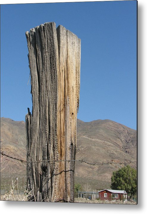 Old Metal Print featuring the photograph Old Wooden Post by Helaine Cummins