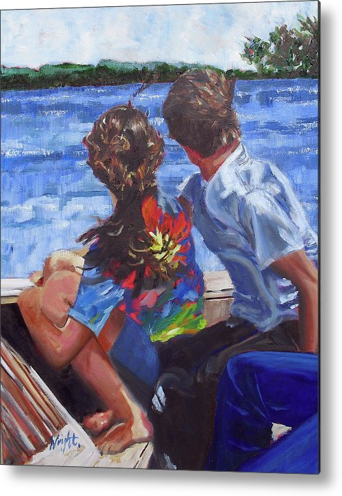 Boat Metal Print featuring the painting On The Boat by Molly Wright