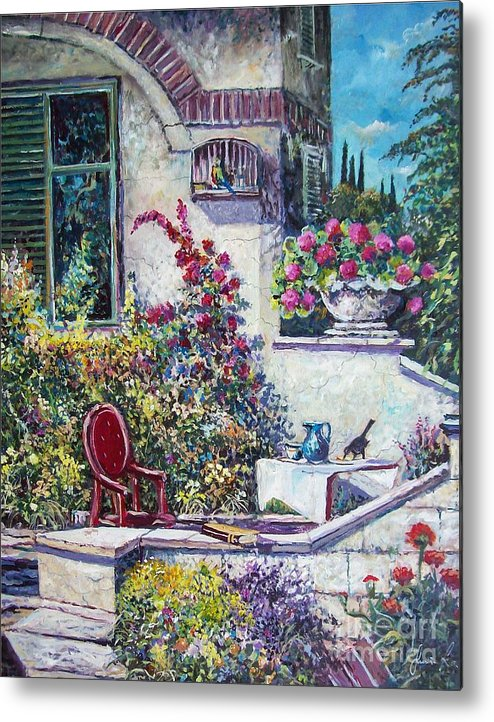 Original Painting Metal Print featuring the painting On The Porch by Sinisa Saratlic