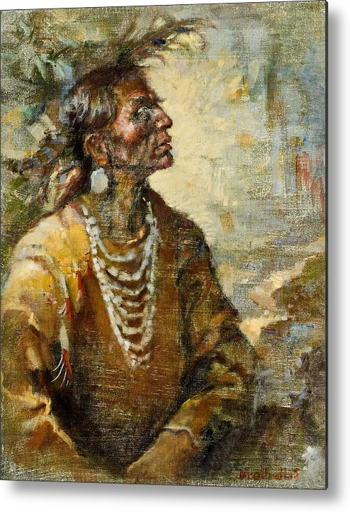 Native American Metal Print featuring the painting One With The Earth by Ellen Dreibelbis