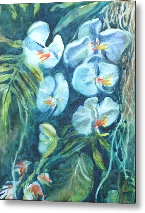 Floral Metal Print featuring the painting Orchids by Donna Pierce-Clark