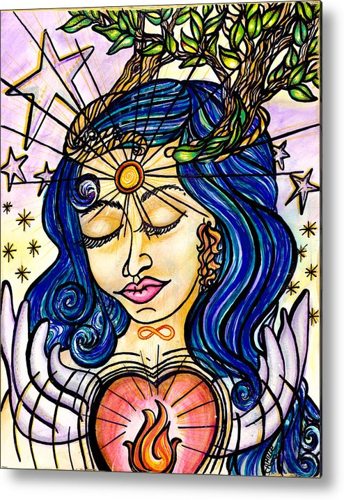 Spiritual Metal Print featuring the painting Our Lady Of Self Blessing by Camille Roman