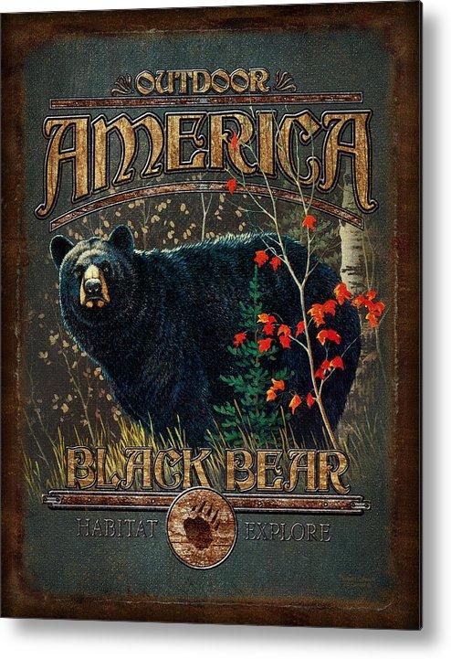 Robert Schmidt Metal Print featuring the painting Outdoor Bear by JQ Licensing