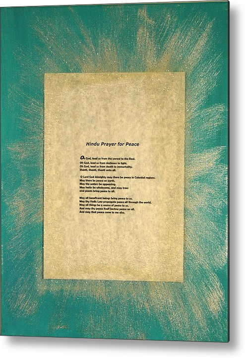 Peace Metal Print featuring the painting Peace Prayers - Hindu Prayer For Peace by Emerald GreenForest