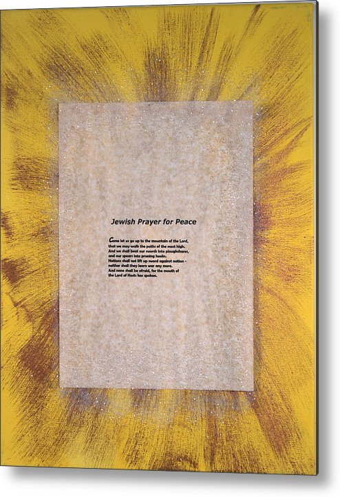 Peace Metal Print featuring the painting Peace Prayers - Jewish Prayer For Peace by Emerald GreenForest