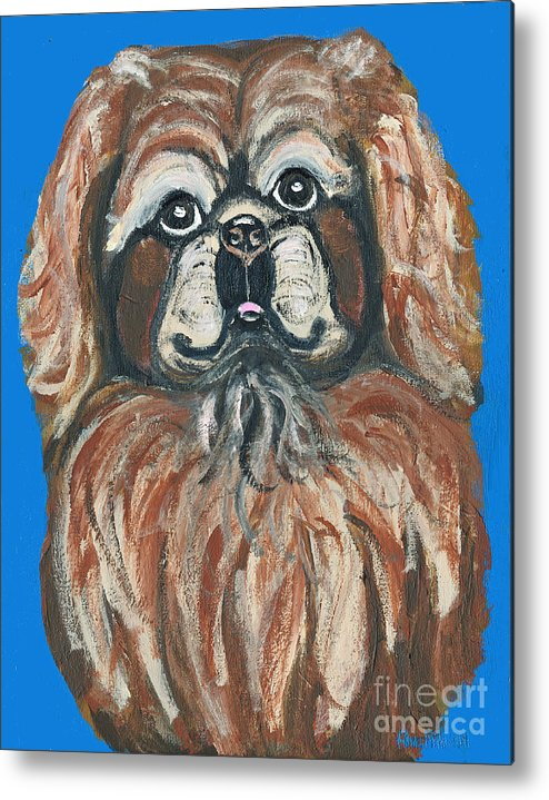 Pekingese Metal Print featuring the painting Peke For You by Ania M Milo