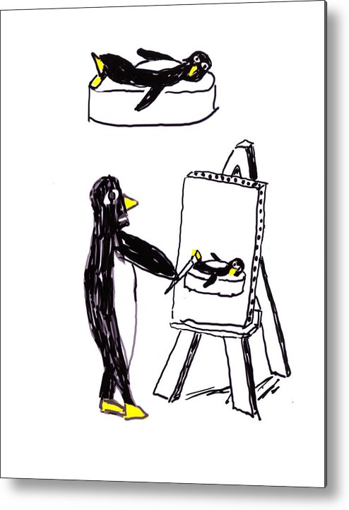 Penguins Metal Print featuring the digital art Penguins Don't Paint Pictures by Rob Keay