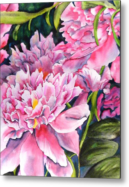 Peony Metal Print featuring the painting Peony In Pink by Diane Ziemski