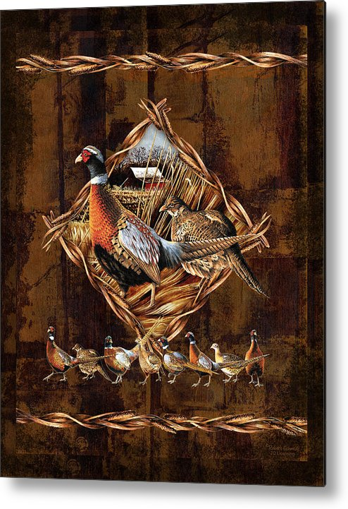 Wildlife Metal Print featuring the painting Pheasant Lodge by JQ Licensing