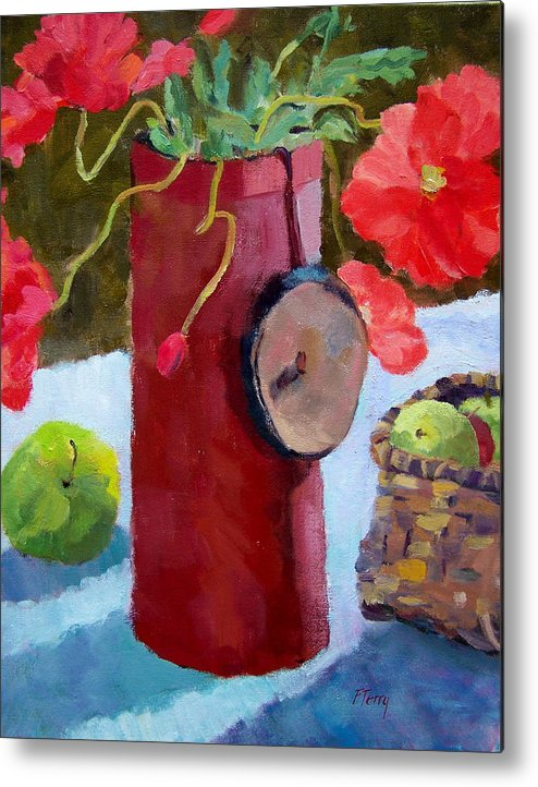 Red Poppies Metal Print featuring the painting Poppies On The Table by Fay Terry