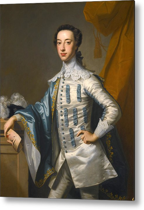 Thomas Hudson Metal Print featuring the painting Portrait Of Sir James Lowther 1st Earl Of Lonsdale Three Quarter Length Holding A Mask In His Right by Thomas Hudson