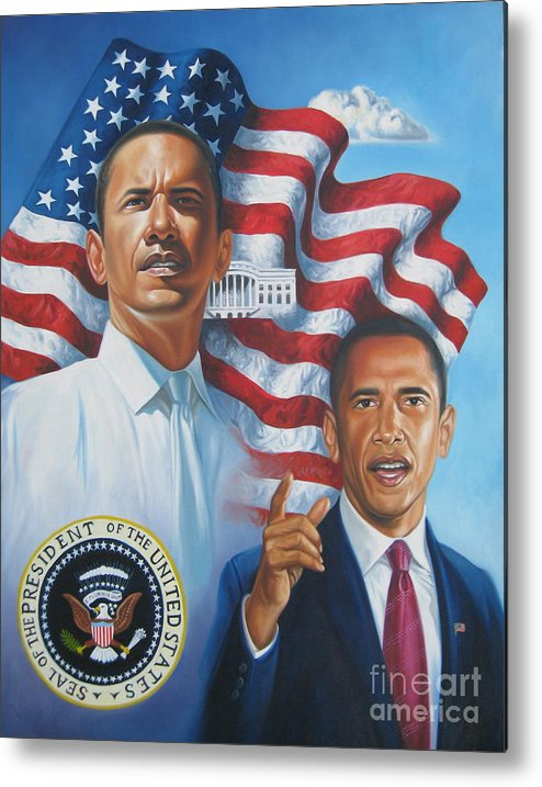 Portrait Metal Print featuring the painting President Barack Obama by Arnold Hurley