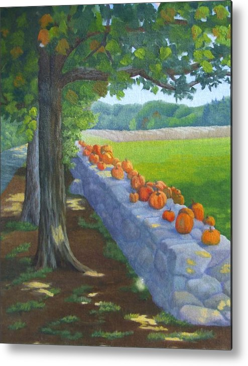 Pumpkins Metal Print featuring the painting Pumpkin Muster by Sharon E Allen