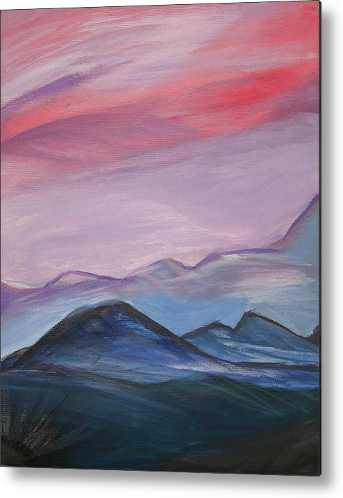 Mountain Metal Print featuring the painting Purple Sky by Liz Vernand