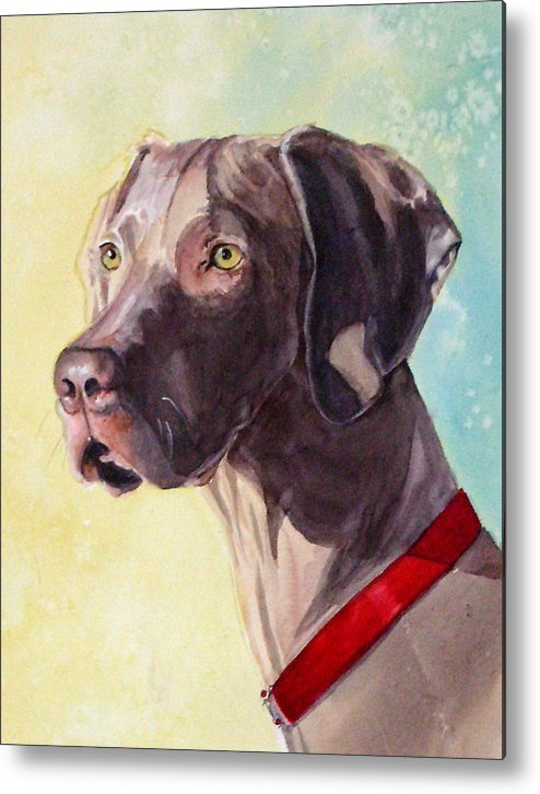Canine Metal Print featuring the painting Quelly by Gina Hall