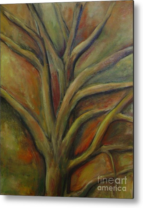 Tree Abstract Painting Expressionist Original Leila Atkinson Metal Print featuring the painting Rapt by Leila Atkinson