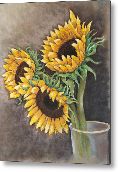 Still Life Metal Print featuring the painting Reaching Sunflowers by Susan Jenkins