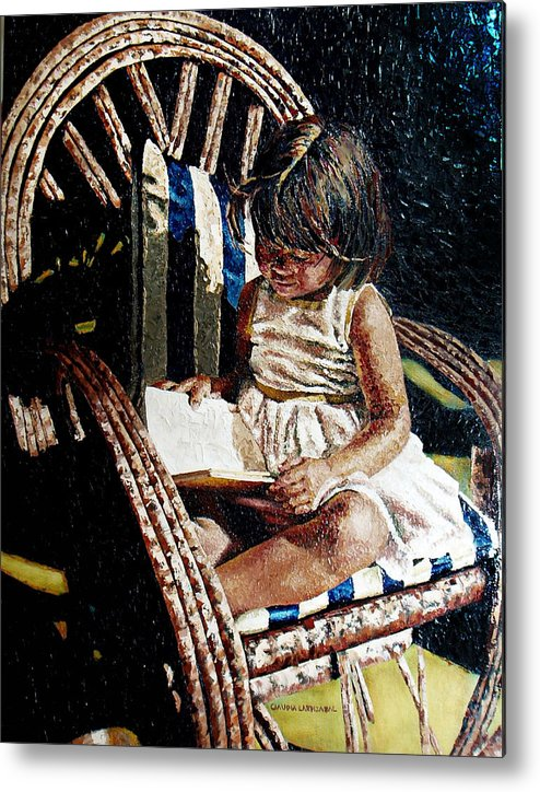 Book Metal Print featuring the painting Reading Time by Claudia Lardizabal