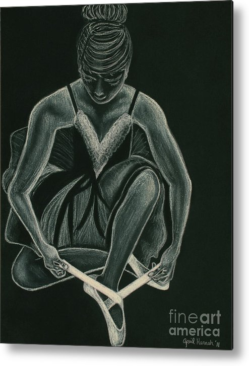 Ballerina Metal Print featuring the drawing Ready To Dance by April Hannah