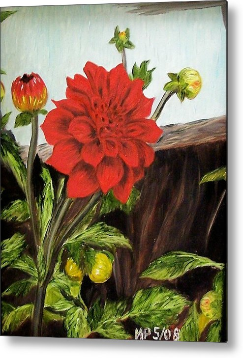 Flower Metal Print featuring the painting Red Dahlia by Madeleine Prochazka