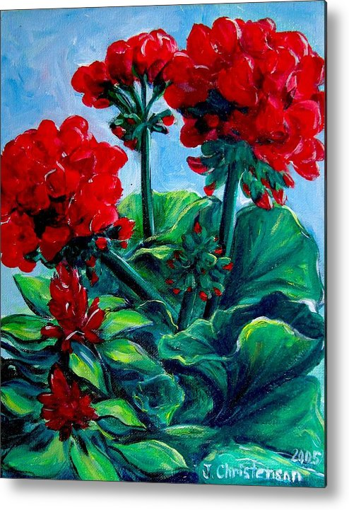 Floral Metal Print featuring the painting Red Geraniums by Jennifer Christenson