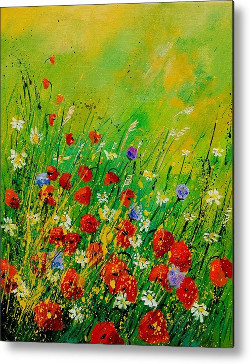 Flowers Metal Print featuring the painting Red Poppies 450708 by Pol Ledent