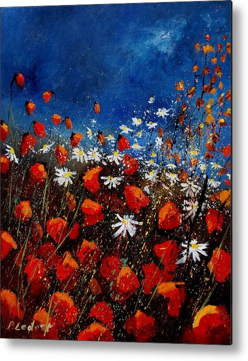 Flowers Metal Print featuring the painting Red Poppies 451108 by Pol Ledent