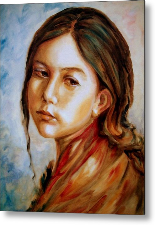 Portrait Of Young Girl Metal Print featuring the painting Red Shawl by Em Scott