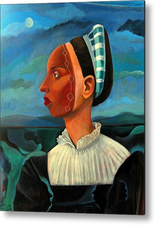 Woman Metal Print featuring the painting Revealed Truths And Myths IIi by Joyce Owens