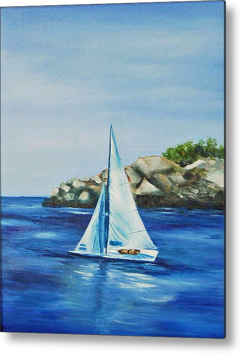 Oil Painitng Metal Print featuring the painting Rockport Sails by Maureen Baker