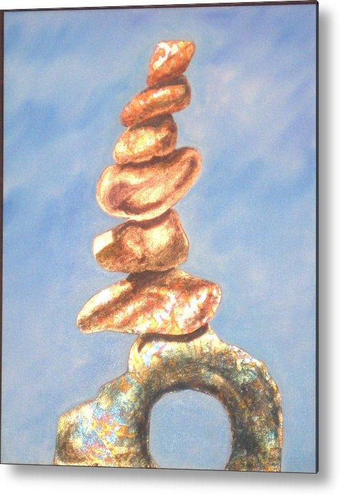 Rocks Metal Print featuring the painting Rocks by AVK Arts