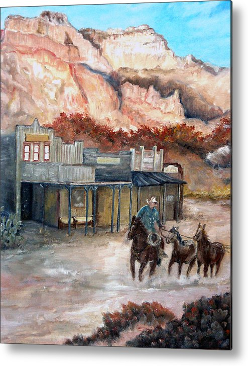 West Metal Print featuring the painting Round-up by CJ Rider