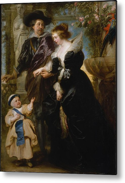 Peter Paul Rubens Rubens His Wife Helena Fourment 16141673 And Their Son Frans 16331678 Metal Print featuring the painting Rubens His Wife Helena Fourment 16141673 And Their Son Frans 16331678 by Peter Paul Rubens