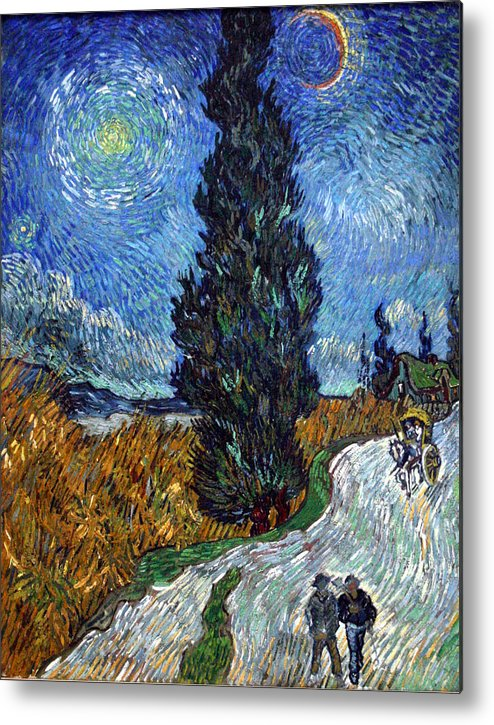 Vincent Van Gogh Metal Print featuring the painting Saint-remy Road With Cypress And Star by Vincent Van Gogh