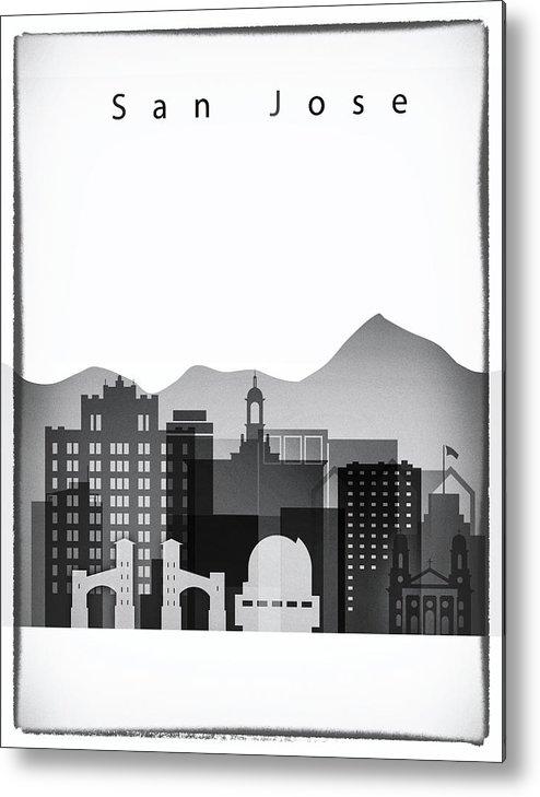 San Jose Skyline Metal Print featuring the painting San Jose Graphic Skyline by Dim Dom