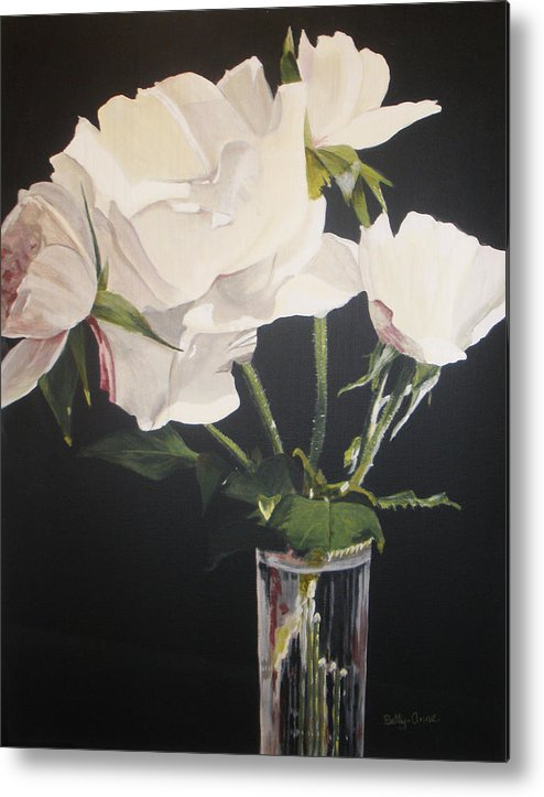 Flowers Metal Print featuring the painting Sandys Roses by Betty-Anne McDonald