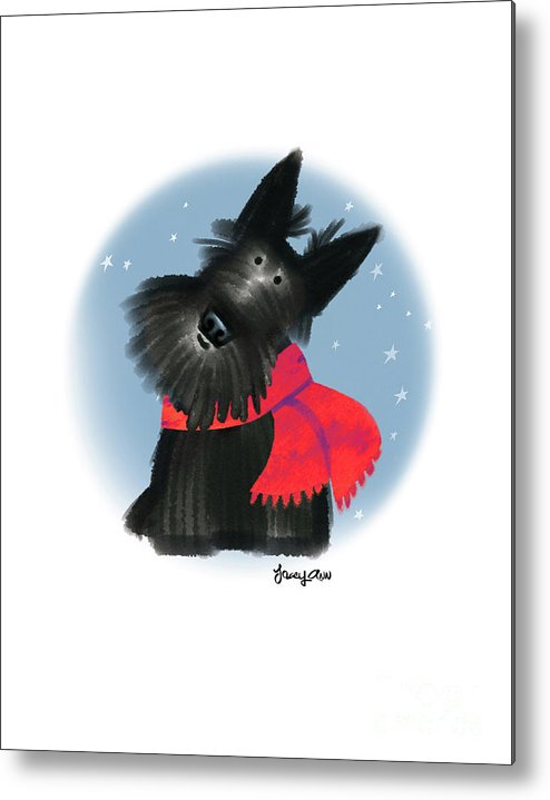 Dog Metal Print featuring the painting Scottie In Scarf 1 by Tracy Herrmann