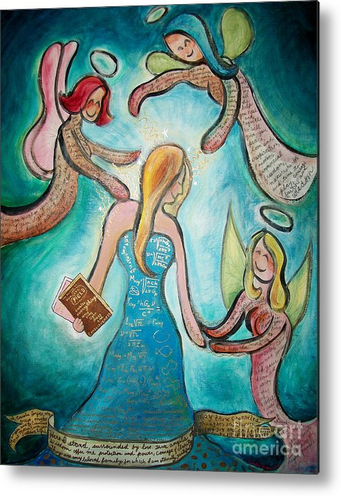 Angels Metal Print featuring the painting Self Portrait With Three Spirit Guides by Carola Joyce