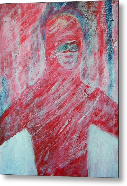 Abstract Metal Print featuring the painting Sharon's First Blizzard by Judith Redman