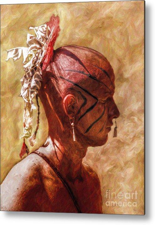 War Metal Print featuring the digital art Shawnee Indian Warrior Portrait by Randy Steele