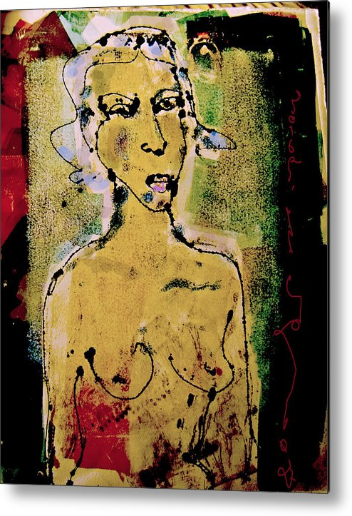 Female Metal Print featuring the painting Silent Abuse by Noredin Morgan