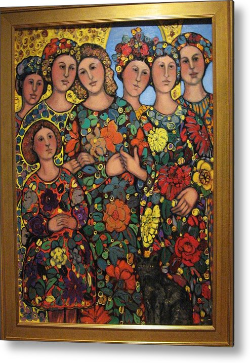 Women Metal Print featuring the painting Six Women Girl And Cat by Marilene Sawaf