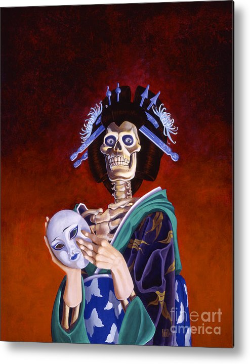 Skeleton Metal Print featuring the painting Skeletal Geisha With Mask by Melissa A Benson