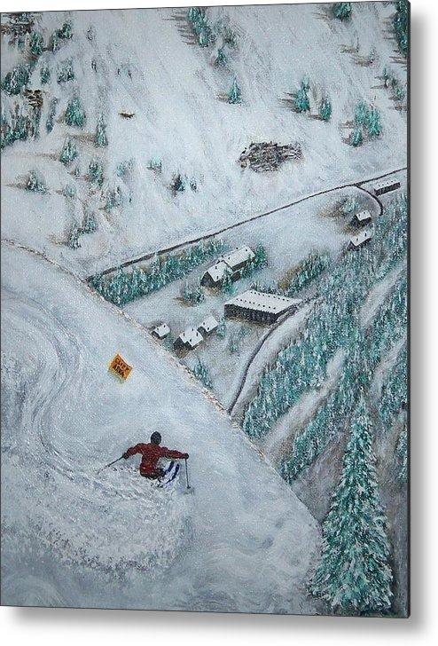 Ski Metal Print featuring the painting Snowbird Steeps by Michael Cuozzo
